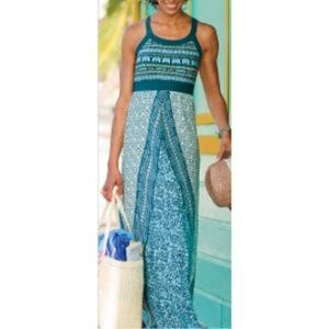 Athleta Rio Maxi Dress Blue Tribal Medium 215